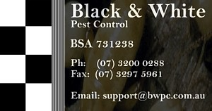 Pest Control Brisbane - Pests, Termites, Spiders - Black & White Pest Control
